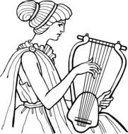 woman playing musical instruments drawing