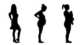 pregnant silhouette woman drawing