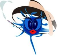 Blue alien with red lips clipart
