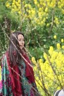 beauty woman in spring forest