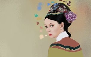 painted portrait of a beautiful asian lady