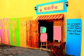 cafe coffee restaurant shop angel multicolor wall door