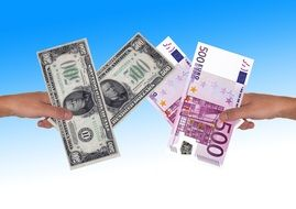 financial world euro dollar hand keep