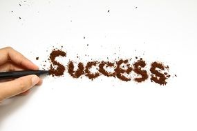 """Success""text made of the coffee"