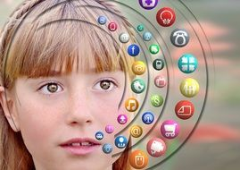 girl and social network icons