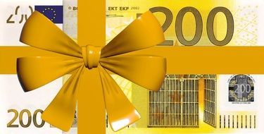euro money 200 bank note gift present