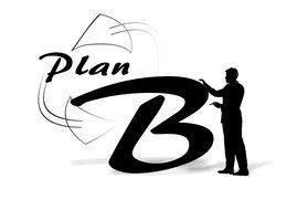 silhouette of a man against the backdrop of the word Plan B