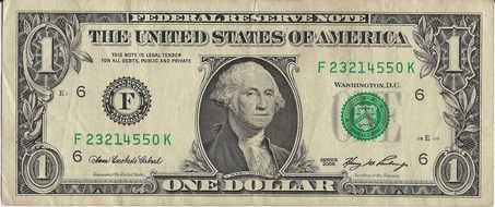 Clipart of 1 dollar bill