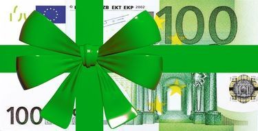 euro money 100 bank note gift present green bow