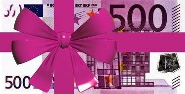 euro money 500 bank note gift present lilac bow
