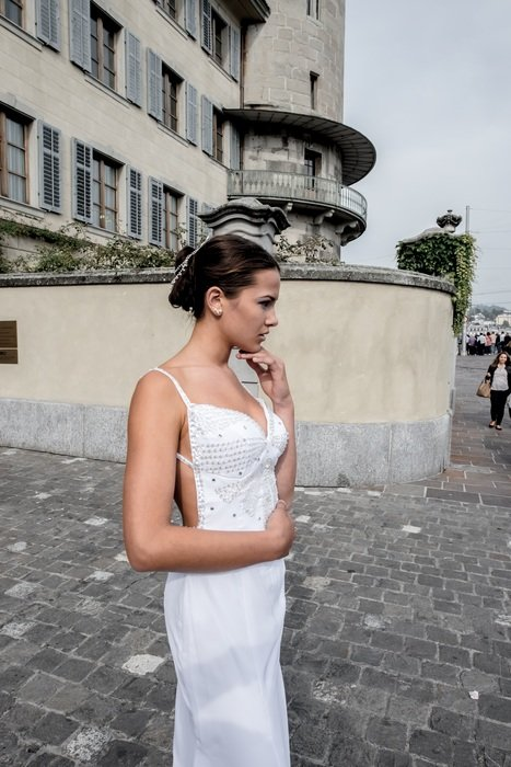 young woman wedding dresses ceremony