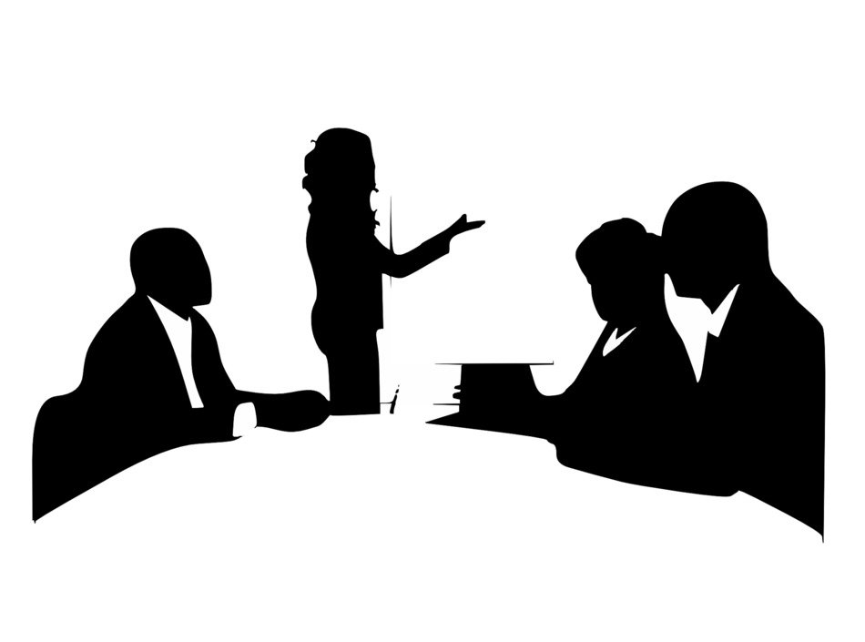 black silhouettes of meeting in a conference room