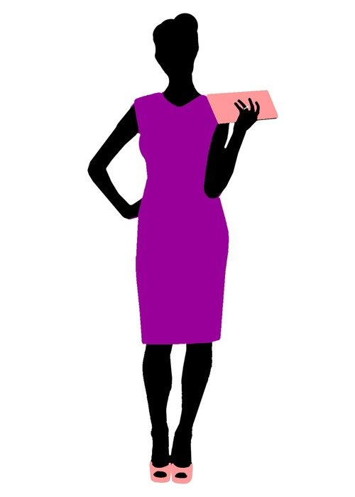 graphic image of a woman in a bright purple dress