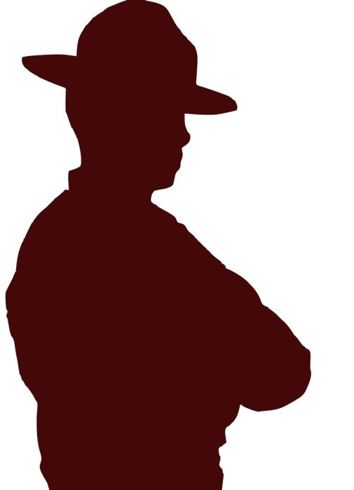 brown silhouette of a western cowboy