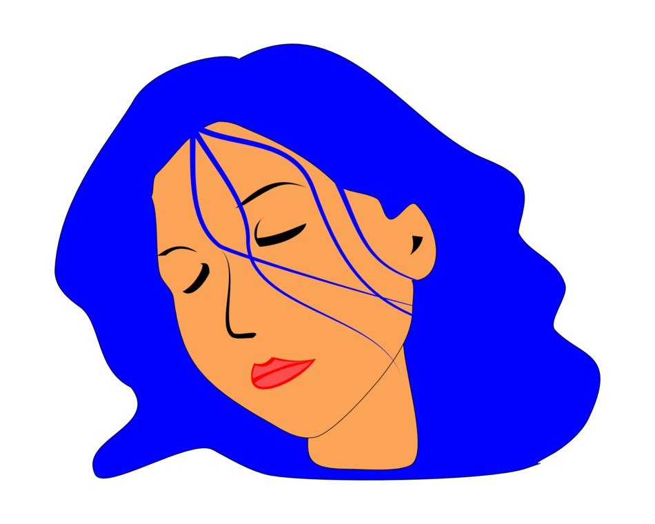 sleeping woman with blue hair as a graphic