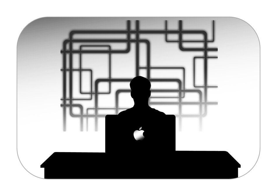 silhouette of company personal businessmen mac book
