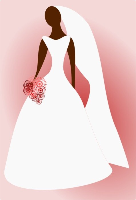 faceless bride with a pink bouquet as a graphic image
