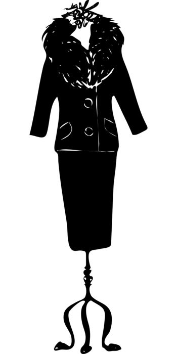 women's suit on a hanger as a graphic image