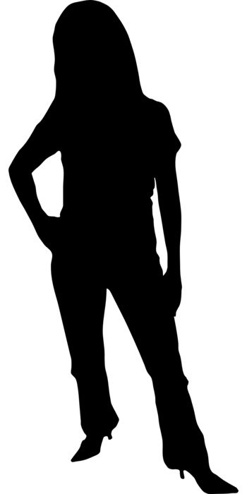 black silhouette of a woman in trousers