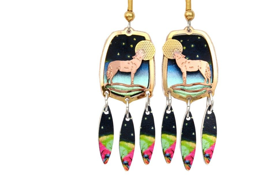 wolf earrings with moon