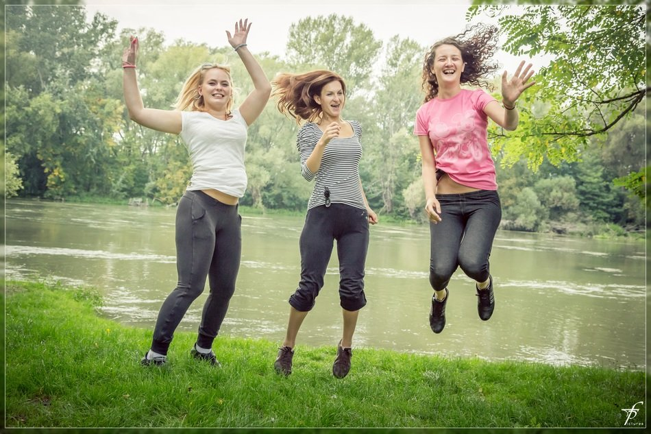 jumping happy people female
