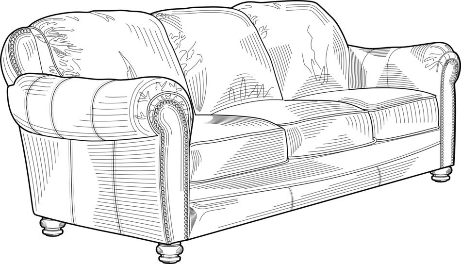 stylish sofa in black and white graphic image