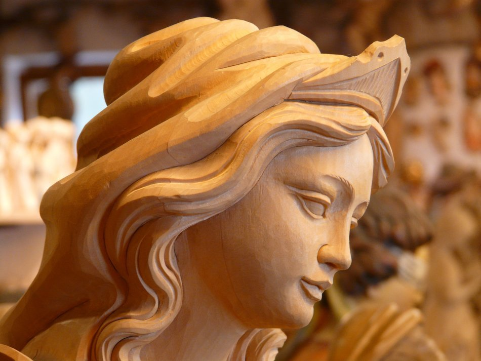 face woman wood carving