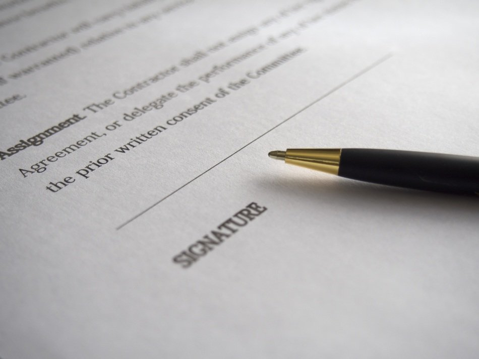 business agreement signature contract