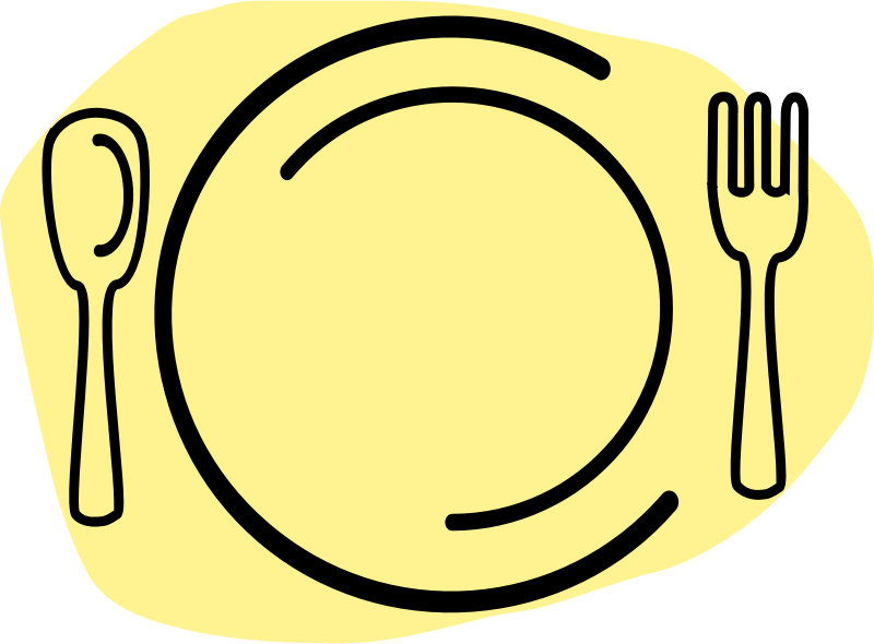 Plate with spoon and fork free image