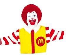 portrait of Ronald McDonald on a white background