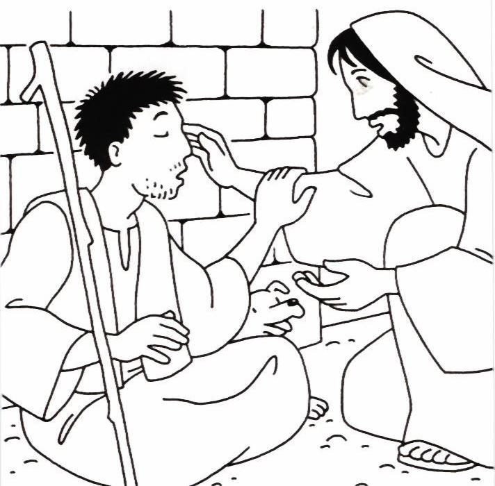 Jesus Heals Blind Bartimaeus Coloring Page free image