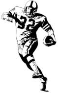 american Football Player runs with ball, drawing