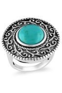 silver vintage ring with blue stone