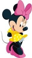Minnie mouse in a yellow dress with a pink bow