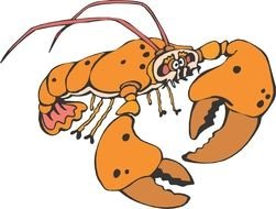 Cartoon Lobster with big claws