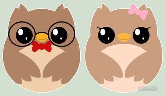 Clipart of Cute Girly Owls