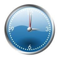 painted blue clock with red arrows