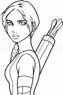 Black and white drawing of Katniss Everdeen clipart