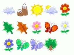 nature, set of colorful icons