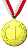 isolated drawn gold medal