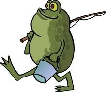 Frog Fishing Cartoon drawing