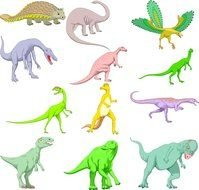 collage of multi-colored dinosaurs on a white background