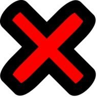X, red Mark in black outline, Clip Art