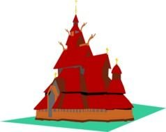 Clip art of red Temple