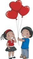 cartoon boy gives girl red balloons