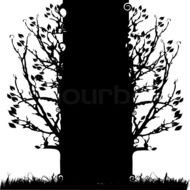 Black And White drawing, thick tree with thin branches