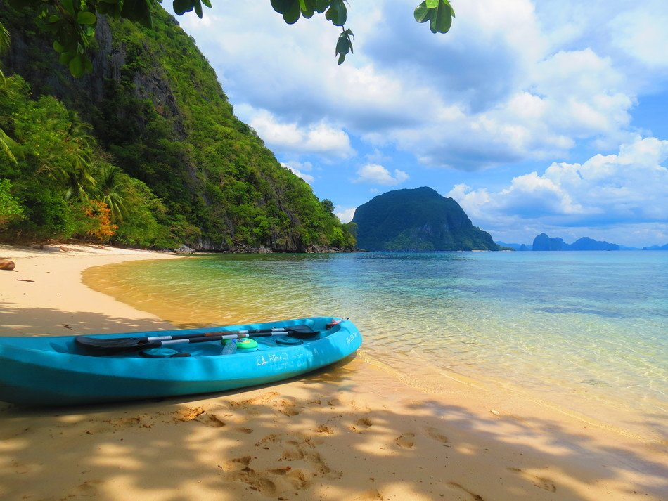 Boat on Paradise seashore