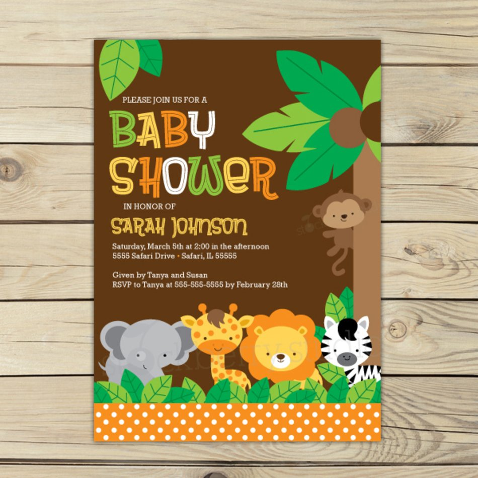 Safari Animal Baby Shower Invitations