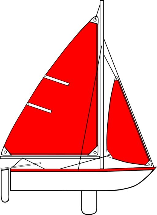 Sailboat with red sail, Illustration