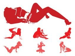 Seductive Girl Silhouettes drawing